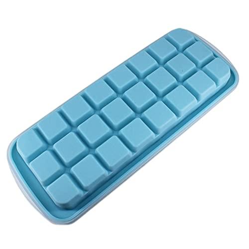 Silikonowa forma na kostki lodu z pokrywką, możliwość układania w stos, kwadratowe pudełko na kostki lodu, łatwe rozkładanie, 2 sztuki, miseczka na kostki lodu (niebieska)
