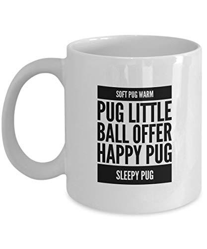 Cukudy zachte Pug Warm Pug Kleine Bal Aanbieding Gelukkig Pug Sleepy Pug Koffie Mok Cup 11oz