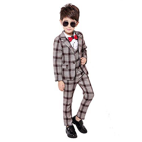 Gele Boy 4 Pieces Plaid Formal Suit Set,Vest+Pants+Blazer+Bow Tie (6, Brown)