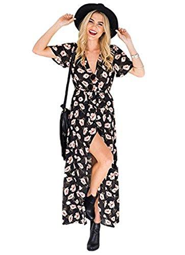 Vestido de verano para mujer, largo de la playa, vestido de noche, sin hombros, elegante, estampado floral negro / rosa M