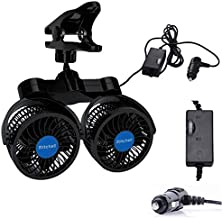 Ouriky Dual Head Clip Car Fan, 12V Adjustable Electric Car Clip Fans, 360° Rotatable Cooling Fan with Cigarette Lighter Plug for Sedan SUV RV Boat Auto Vehicles or Home(4 Inches)