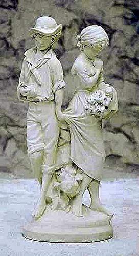 Verliebtes Paar Steinfigur Gartenfigur H 90 B 30 T 27 Farbe terrakotta