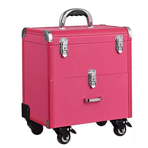 Maquillage Valise Trolley Vanity Train de laminage à deux couches avec Mute roulette professionnel grande capacité Nail Beauty Trolley trousse cosmétique,Pink