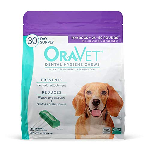 ORAVET Dental Hygiene Chews for Medium Dogs (25-50 pounds), 30-Count Pack