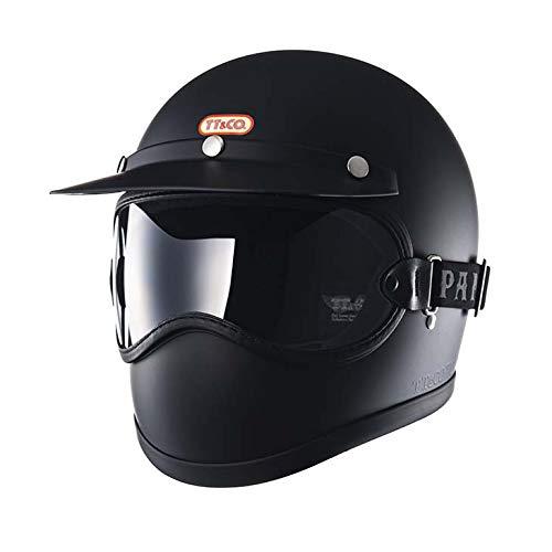TT&CO. トゥーカッター マットブラック クリアゴーグルセット フルフェイスヘルメット ヴィンテージ フルフェイス ビンテージ ヘルメット SG/PSC/DOT 乗車用ヘルメット おしゃれ ハーレー モトクロス