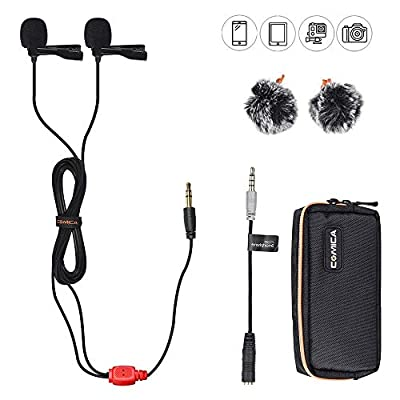 Comica CVM-D02 Dual-Head Lavalier Lapel Microphone Omnidirectional Condenser Clip-on Microphone for Canon Nikon Sony DSLR Cameras,iPhone/Android Smartphones(236inch)