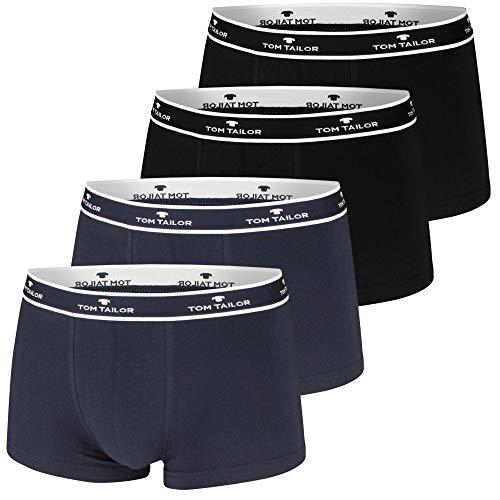 TOM TAILOR Boxershorts, 4 Stück, sportlich, bequem, schlicht, formstabil, weich (M / (5), 2 x schwarz | 2 x Navy)
