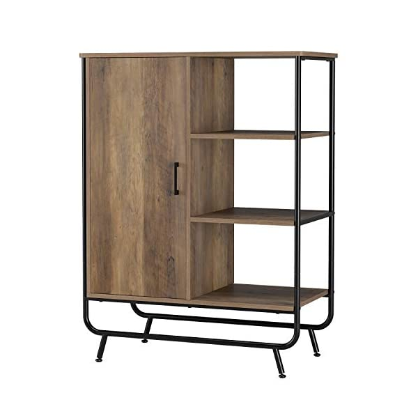 HOMECHO Industrial Storage Cabinet, Sideboard, Floor Standing Cabinet with 3 Shelves and 1 Cupboard, for Home Office, Metal Frame, Multifunctional, Rustic Brown