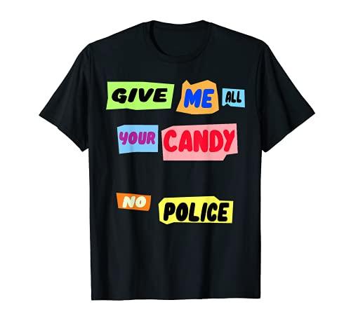 Periódico Halloween Fragmentos recortes Give Me Your Candy Camiseta