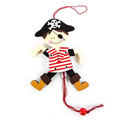 Logbuch-Verlag Piratenfigur aus Holz - Hampelmann Pirat rot weiß als Geschenk Give-Away Mitgebsel Kindergeburtstag Piratenfigur Deko