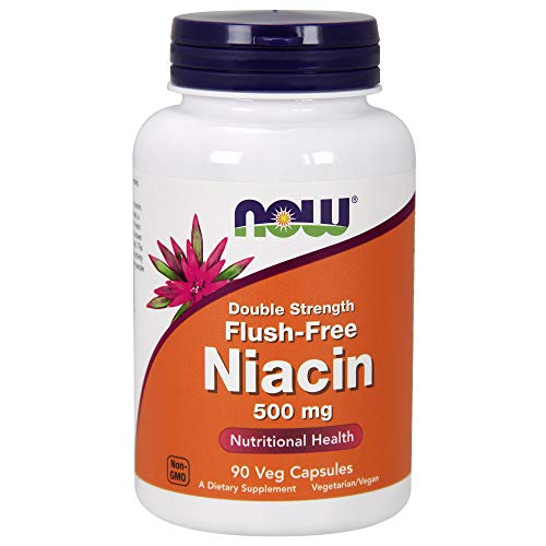 NOW Supplements, Niacin (Vitamin B-3) 500 mg, Flush-Free, Double Strength, Nutritional Health, 90 Veg Capsules