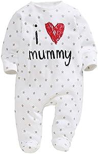 Bebé Pelele de Manga Larga Mono Unisex Mameluco Infantil de Algodón para Recién Nacido Pijama de Una Pieza Body para Niños Pequeños Ropa para Dormir (Estrellas, 0-6 Meses)