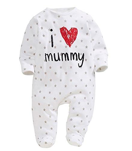 Carolilly Neonato Unisex Pagliaccetto Tuta Body in Cotone con Maniche Lunghe I Love Daddy/Mummy Stampato (I Love Mummy,0-6mesi)