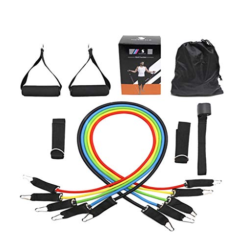 Multifunctionele ophanging trekkoord, fitnessweerstand riem training yoga elastische band, met 5 fitnesskracht buis spanriem/handvat/deuranker/slinger/sportgids, fitnessapparatuur, F