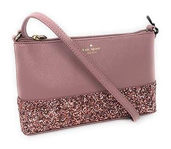 Kate Spade Ramey Greta Court Glitter Saffiano Leather Crossbody Bag Dusty Peony