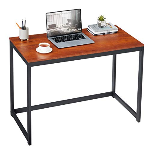 Alecono Small Computer Desk 39 Inch Study Writing Desk for Small Space Simple Home Workstation Office Tiny Desk Student PC Gaming Table with Metal Frame Brown