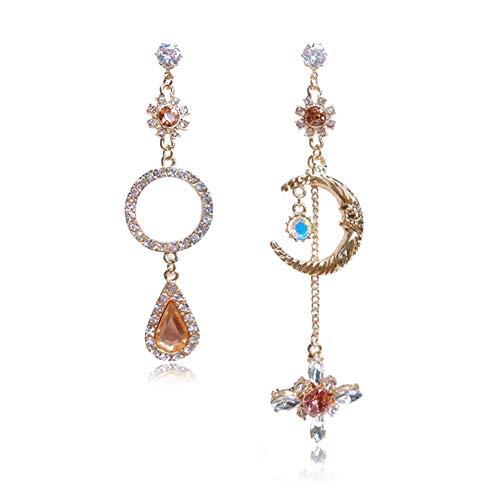 GIMEFIVE Asymmetrical Vintage Opal Sun and Moon Planet Earrings Bohemian Tassel Design Drop Earring with Clear Crystal for Woman Girls (Gold)