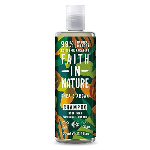 Faith In Nature Natürliches Shea & Argan Shampoo, pflegend, vegan & tierversuchsfrei, Parabene und SLS frei, für normales bis trockenes Haar, 400 ml