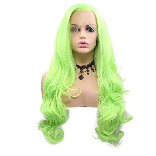 """Naturel Hairline Jaune vif Vert synthétique Lace Front Perruques pour Cosplay Perruque de cheveux longs sans colle haute température Couleur fluorescente pour cosplay Party Femme Perruque 24"""""""