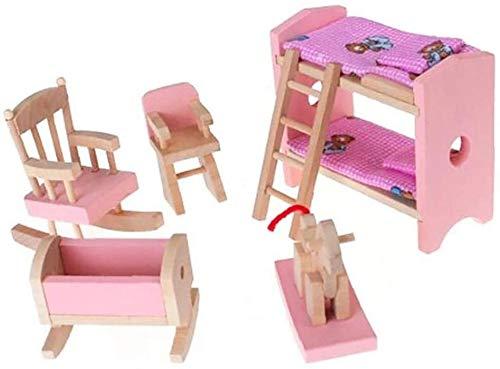 DIVISTAR Juego de muebles de madera en miniatura incluye litera, silla cuna niño regalo muñeca casa mini muebles juguete