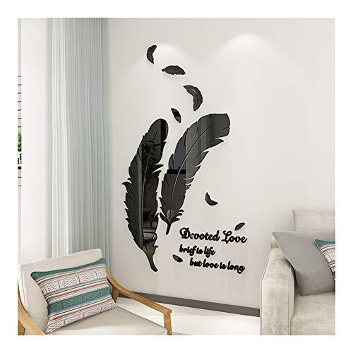 XINF 3D-veren-spiegel-wandsticker, acryl, verwijderbaar, zelfklevend, woonkamer, sofa, tv-achtergrond, wanddecoratie