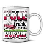 Ich Bin Pole ich kann Nicht ruhig bleiben Kurwa Polen Polska Poland Fan Artikel Fuss Ball Welt Europa Meisterschaft Tasse Becher Kaffeetasse Kaffeebecher Kaffeepott Koszulka Geschenk Ideen Hooligans