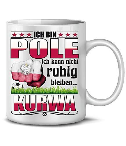 Polen Polska Poland Fan Artikel 6038 Fuss Ball Welt Europa Meisterschaft EM 2020 WM 2022 Kaffee Tasse Becher Koszulka Geschenk Ideen Fahne Weiss