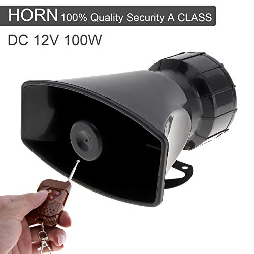 7 Sounds Loud Car Warning Alarm Police Fire Siren Horn Speaker with Brown Remote Controller 12V 100W