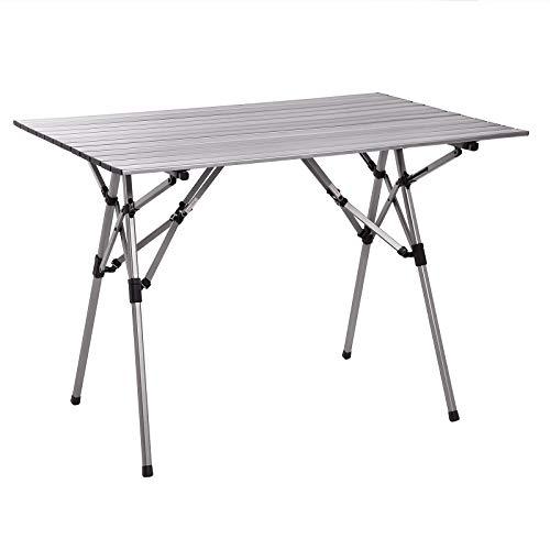 SONGMICS Campingtisch, Klapptisch, tragbarer Picknicktisch aus Aluminium, mit einrollbarer Tischplatte, Garten, BBQ, Garten, Strand, leicht, mit Transporttasche, 100 x 69 x 70 cm, grau GAT02BK