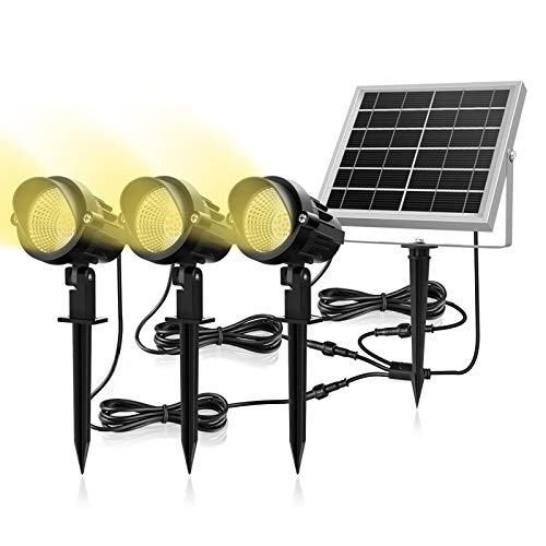 Luces Solares para Exterior, MEIKEE 3 en 1 Luces Led de Jardín Solar 6V/3W, Impermeable IP66, Blancas Cálidas 3000k, Proyector Solar Exterior 270º Gran Angular Ajustable para Patio/Césped/Camino