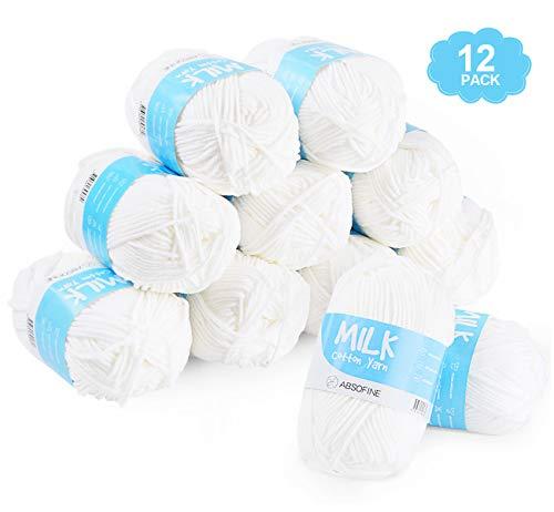 Suave Leche de Algodón Ovillos de Lana bola del hilado para Mano Tejer Amigurumi Crochet Ganchillo del Bebé Blanco, 12 x 50 g