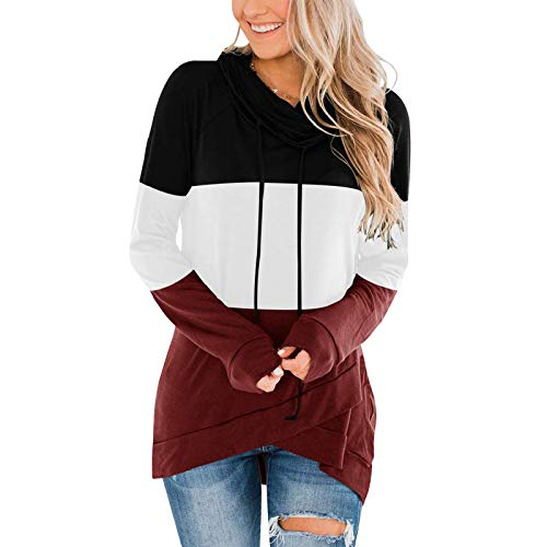 T-Shirt Long-Sleeved Stitching Contrast Color Pullover Hooded Loose Casual Fashion Daily All-Match Sweatshirt For Women