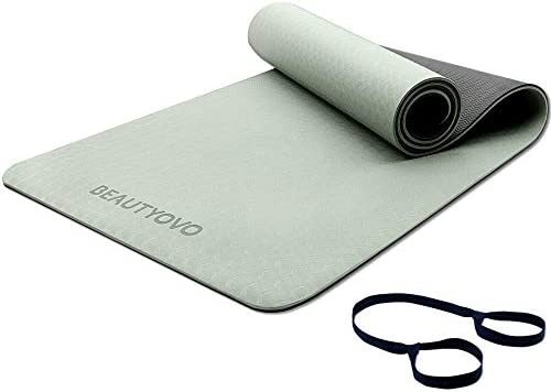 Yoga Mat with Strap 1 3 Inch Extra Thick Yoga Mat Double sided Non Slip Professional TPE Yoga product image