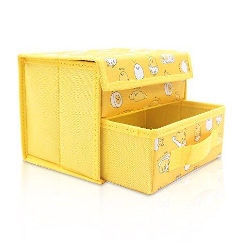 Finex Gudetama Faltbare Aufbewahrungsbox für Schreibtisch, mit herausnehmbarer Schublade, Gelb