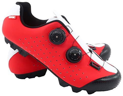 LUCK Zapatilla de Ciclismo MTB Eros con Doble Cierre rotativo de Alta precisión. 46 EU, Rojo