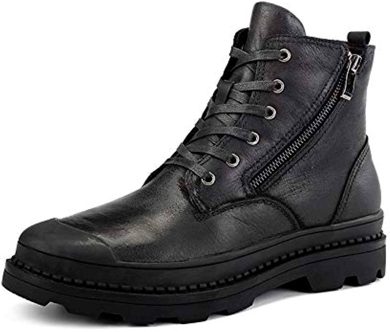 Qiusa Mens Lace Lace up Side Zip Chukka Stiefel aus echtem Leder Pelz gefüttert Ankle Stiefel (Farbe   Schwarz, Größe   EU 44)  bis zu 42% Rabatt