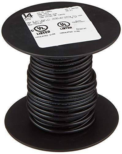 SOUTHWIRE COMPANY LL 11579041 50' 14SOL BLK THHN Wire, 14 Guage, Black