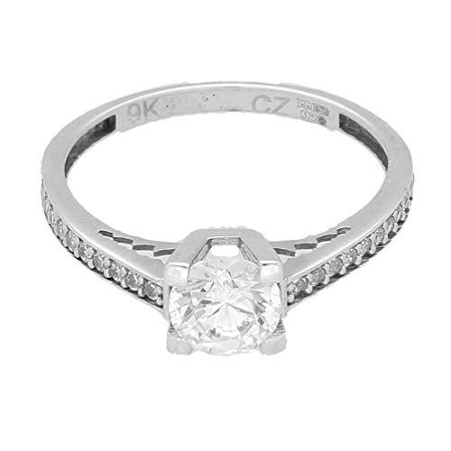 Anillo para mujer, oro blanco de 9 quilates con diamante de imitación solitario con detalles (Talla L), cabeza de 5 mm, joyería única