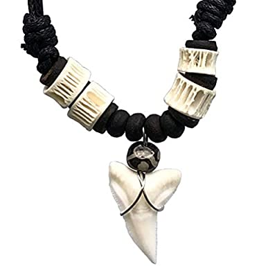 Hawaiian Polynesian Maori Surfer Beach Tribal Surfing Jewelry Real Shark tooth Black/white Fish bone bead Protection Amulet boy's Men pendant necklace Luck Charm Talisman choker Black Adjustable Cord