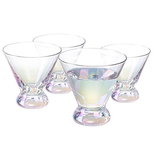 Vastto 6.7 Ounce Iridescent Martini Glass,for Home Dinning, Bar and Party,Set of 4 (Rainbow-colored)