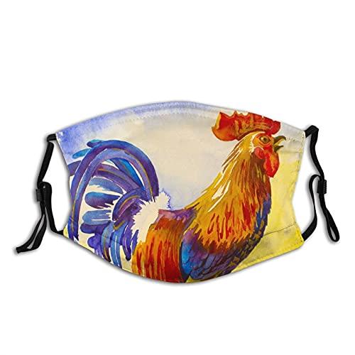 Gallo en amarillo amanecer luz para adultos polvo M-A-S-K cubierta facial protección bucal con filtros pasamontañas resistente al viento reutilizable lavable decoración bufanda 1 pieza