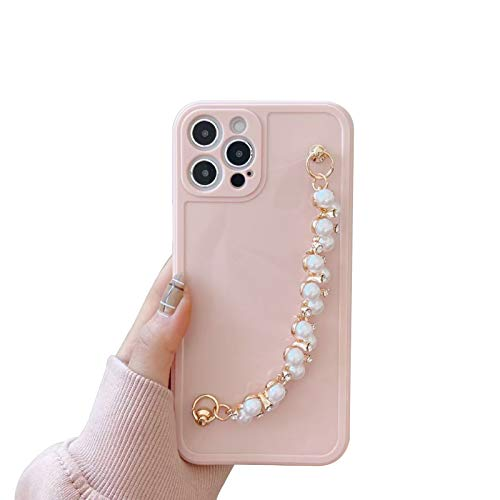 QfireQ Funda de Perla 3D Compatible iPhone 12/12 Mini/12 Pro/12 Pro MAX Concha de Pulsera de Perlas 3D de Lujo Carcasa de Antideslizante Protección de Lentes Case,Rosado,12