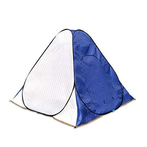 QQW Tenda Invernale 3-4 Persone Tenda Monostrato Tenda Portatile da Pesca Sul Ghiaccio per Esterni Cuciture Tende in Cotone Spesso per Brevi Fine Settimana in Famiglia Family,Blu,200X200X160Cm