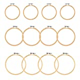 WOWOSS 12 Pieces 3 Size Embroidery Hoops Wooden Round Adjustable Bamboo Circle Cross Stitch Hoop Rings for Embroidery and Cross Stitch Art Craft Handy Sewing - 4', 5', 6'
