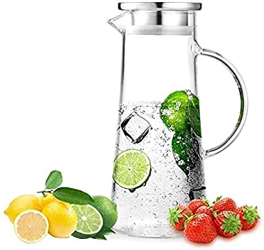 Water Jug Glass, Hells Kitchen Glass Jug with Steel Lid Water Jug & Juice Jug for Tableware/Dinning Ware Pitcher Water Carafe
