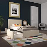Novogratz Kelly Upholstered Storage, Ivory Linen, Twin Bed