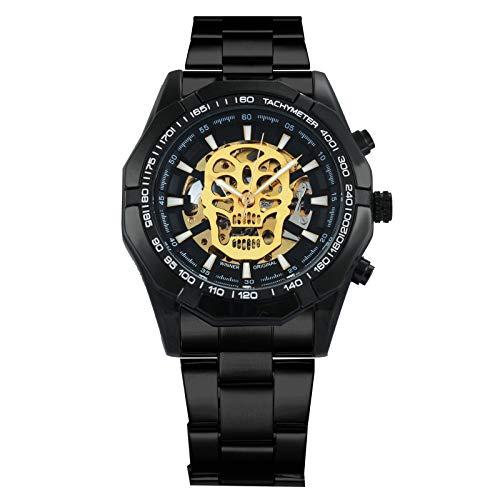 Callujo Moda Casual Negro Automático Mecánico Hombres Reloj de Pulsera de Acero Inoxidable Calavera Dorado Esqueleto Esfera Militar Relojes de Pulsera