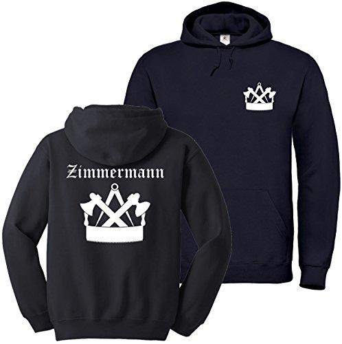 """Textildruck Universum Hoodie Zimmermann Zunftwappen 3\"""" S bis 5XL (XL, Schwarz)"""