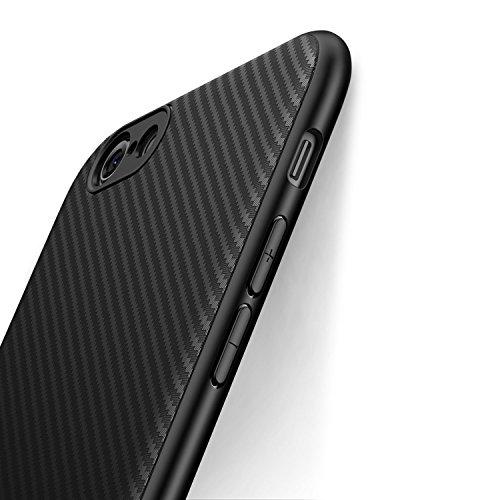 Cover iPhone 6 Plus/6S Plus J Jecent Custodia iPhone 6 Plus/6S Plus Look in Fibra di Carbonio Custodia di Protezione in Morbida Silicone TPU [Anticaduta Antiscivolo Antigraffio Antiurto] - Nero