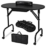 Yaheetech Manicure Table Nail Technician Table Workstation Art Desk with Drawer, Carry Bag,Wrist Rest, Black